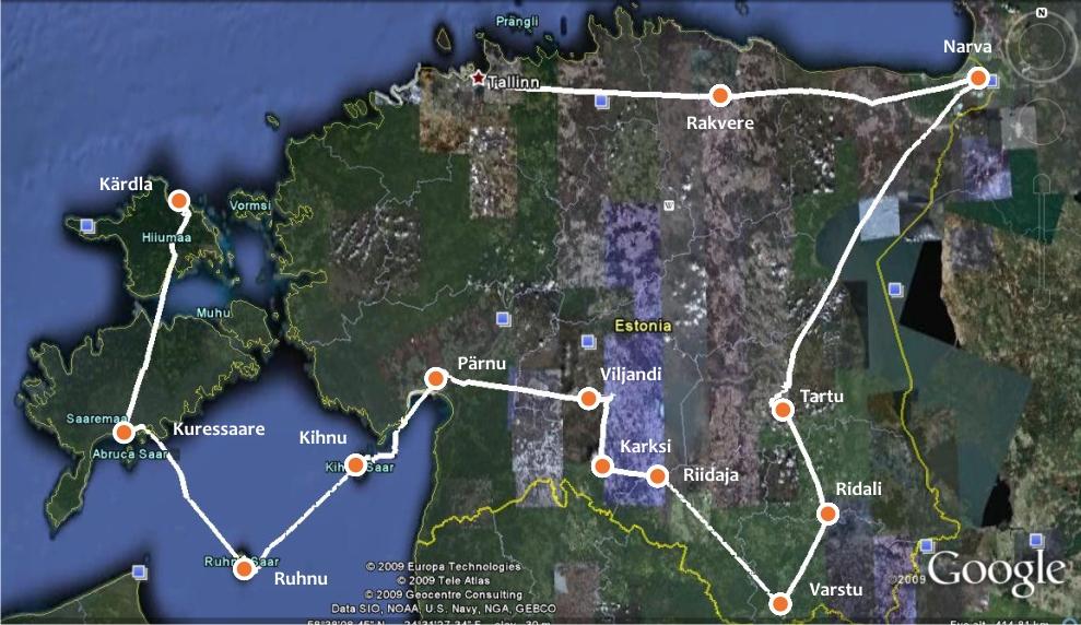 Ring tõmbub üha koomamale. Lennujälg Saaremaalt Hiiumaale.